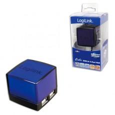 LogiLink USB 2.0 4 Port Illuminated Cube Hub - Black & Blue