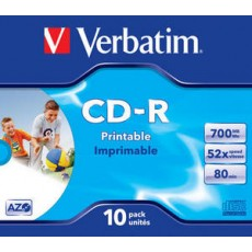 Verbatim Printable 52x CD-R Jewel Cased (10 Pack)