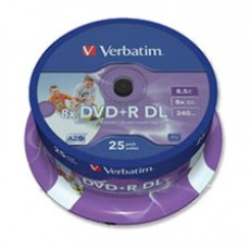 Verbatim Printable 8x Dual Layer DVD+R DL - 25 Pack
